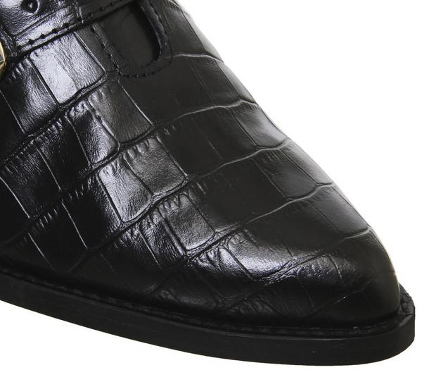 Office Album Western Buckle Boots Black Croc Leather Gold Hardware - Ankle Boots Ik5oVWX