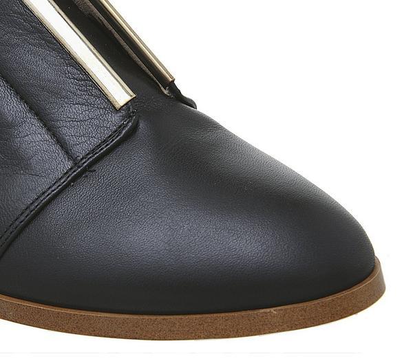 Office Feather Slip On Flats Black Leather W Gold Trim - Flats YGTNv0u