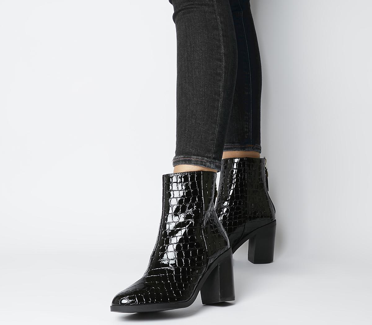 Arden Back Zip Block Heel Boots