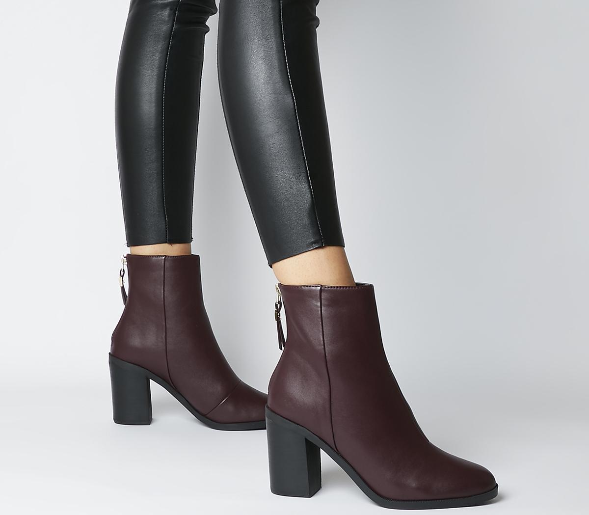 Arden Back Zip Block Heel Boots