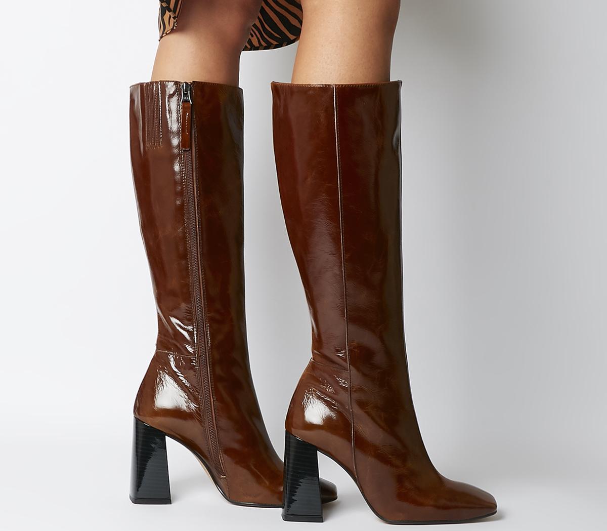 Koyote Square Toe Block Heel Knee Boots