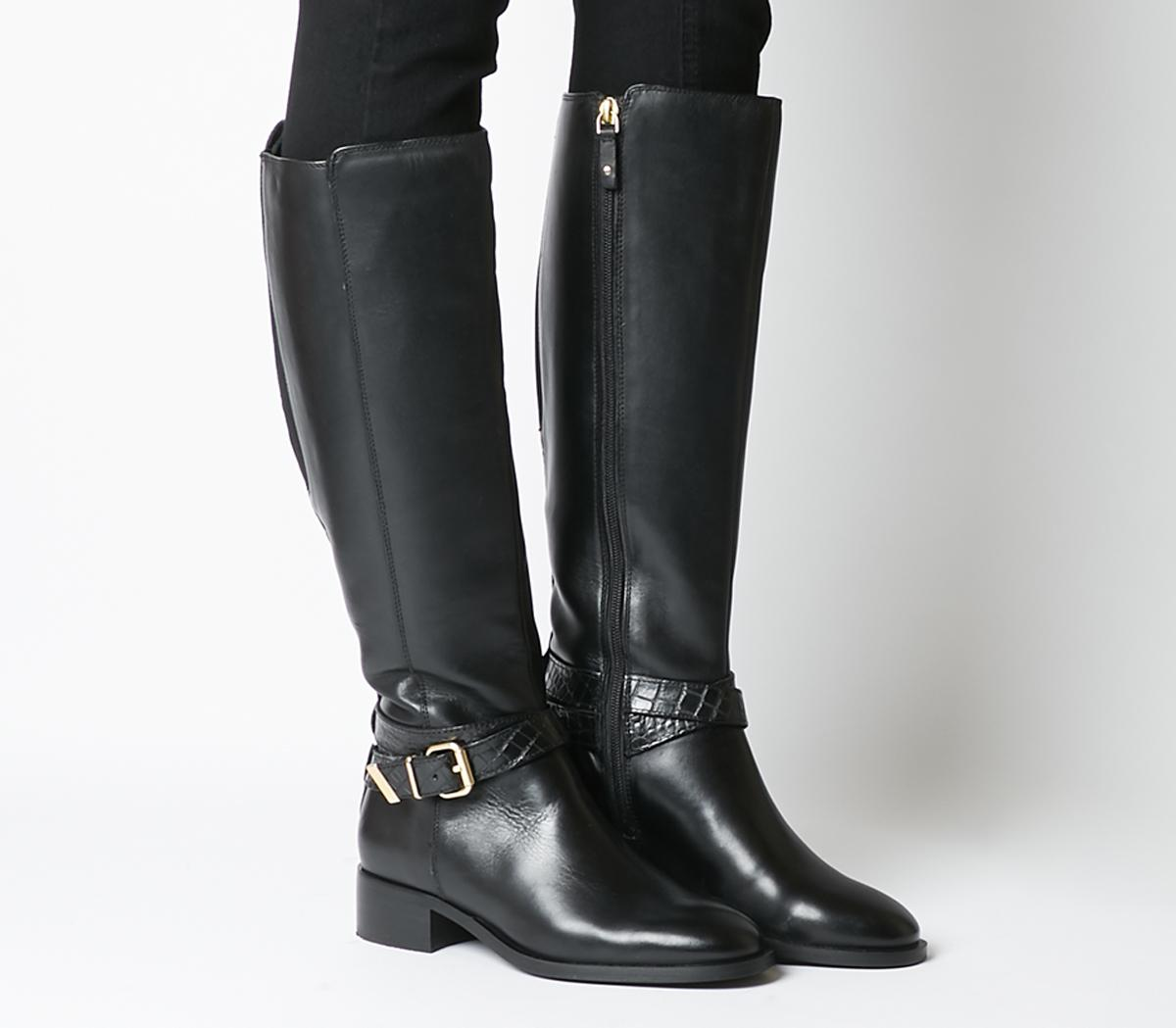 Karter Rider Knee Boots Black Leather