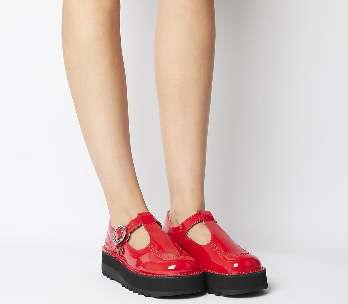 Kickers Kick Trixie T Bar Shoes Red