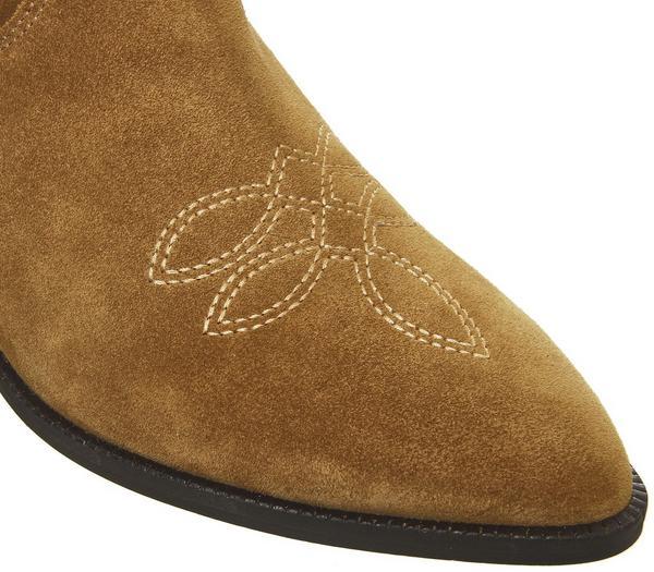 Office Kalvin Western Calf Boots Tan Suede - Hers Festival Shop 9s9pPNc