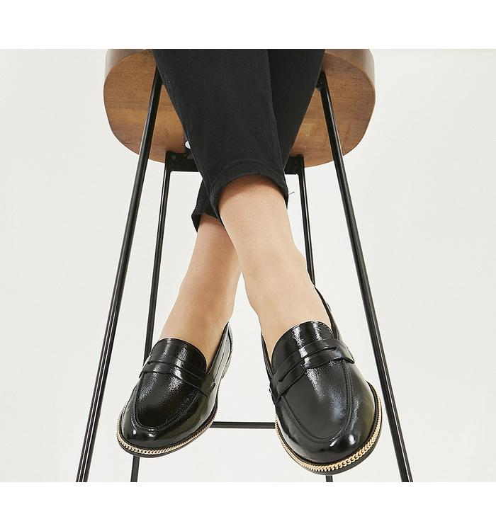 Womens Office Fallow Buckle Loafers Black Box Leather Flats