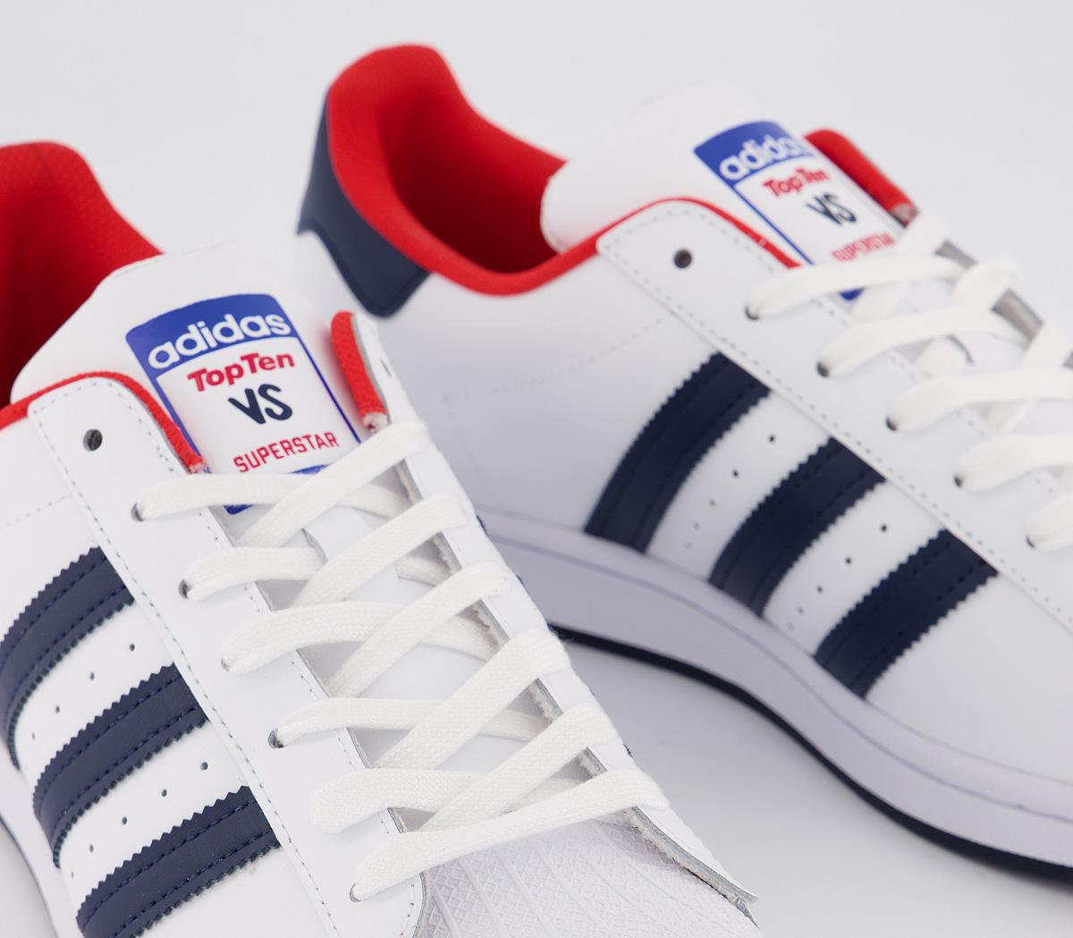 adidas Superstar Trainers White Navy