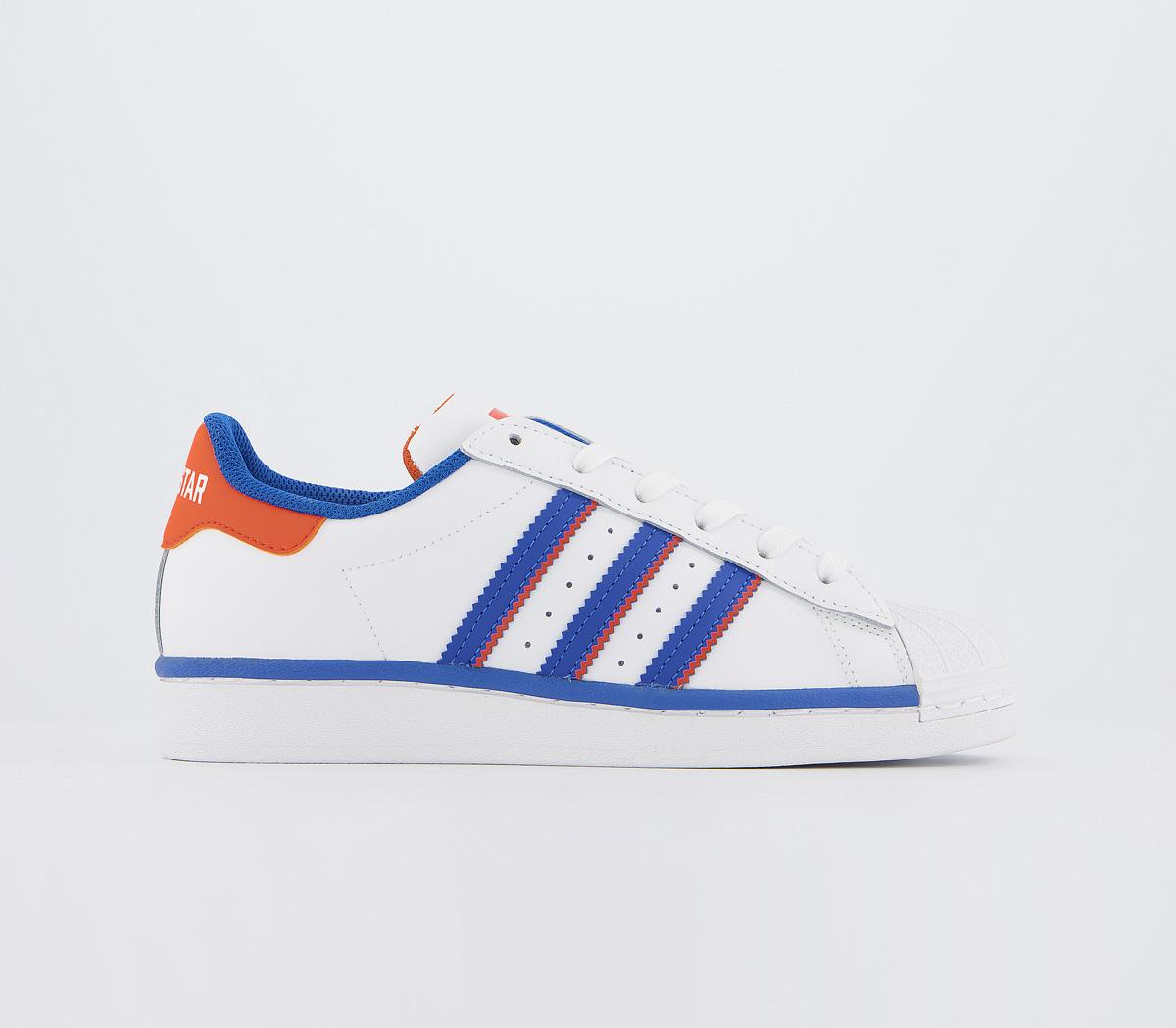 adidas superstar blue and orange stripes
