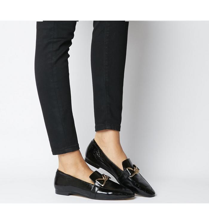 Office Office Favoured- Bow Trim Loafer BLACK LEATHER
