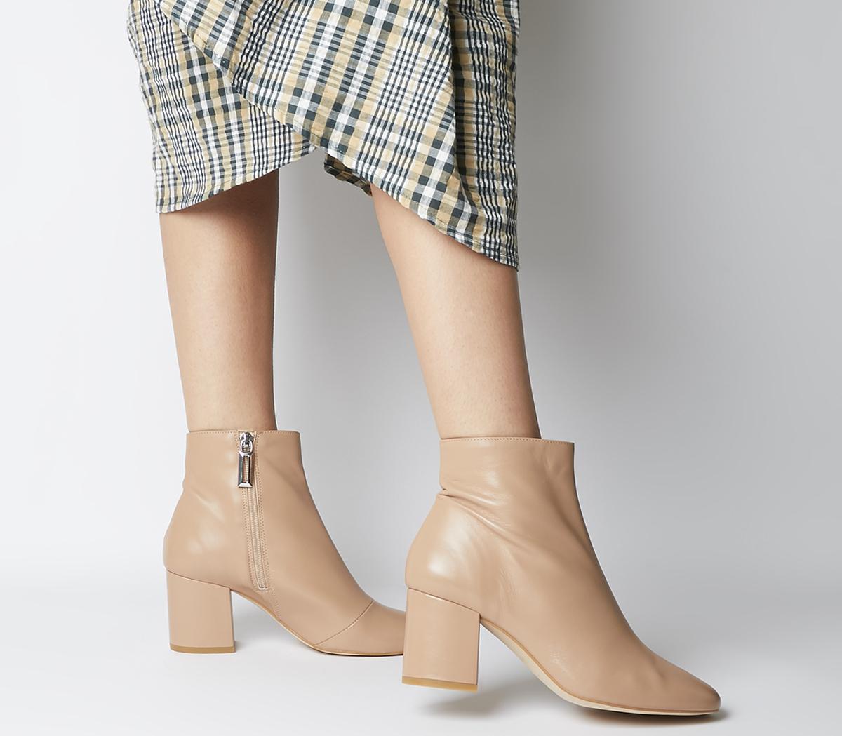 Office Amoretti Black Heel Boots Nude