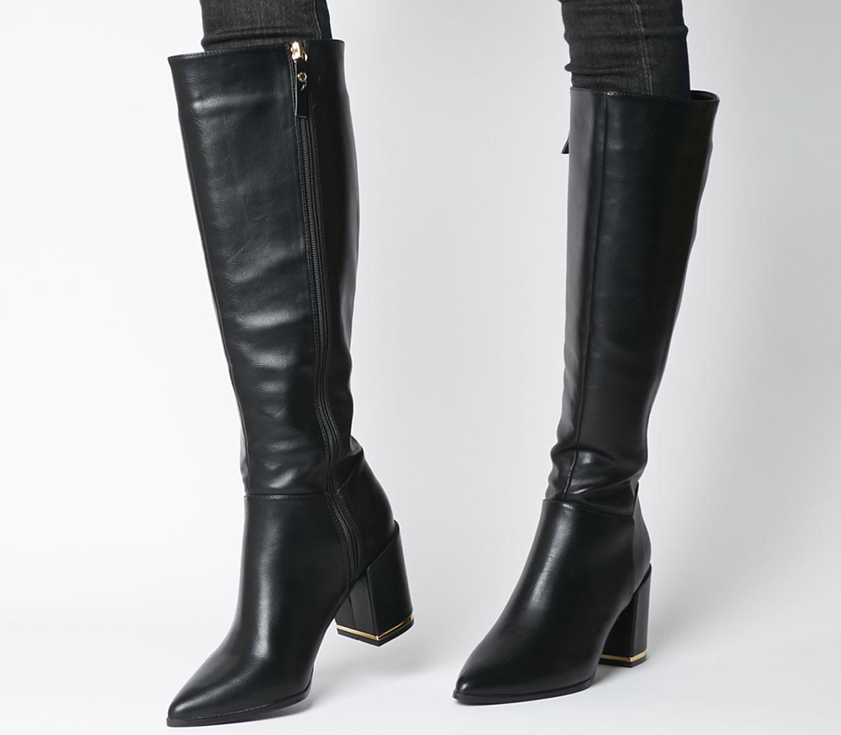 Office Klever Block Heel Knee Boots