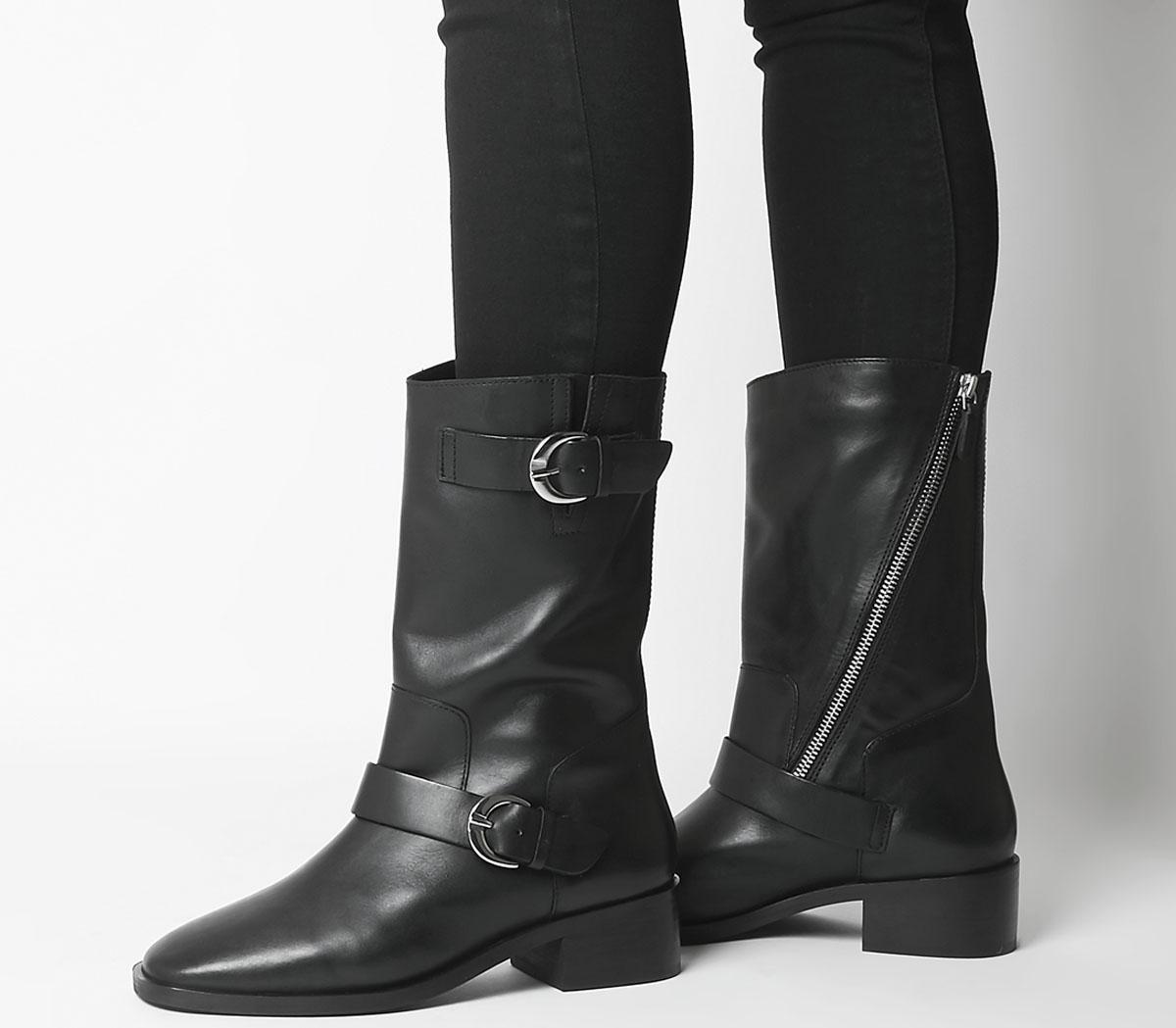Office Kick Calf Biker Boots Black