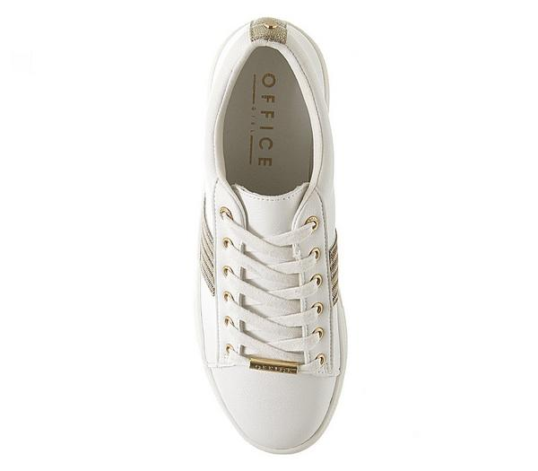 Office Freestyle Lace Up Trainers White With Strass - Fashion Trainers GlVULdm