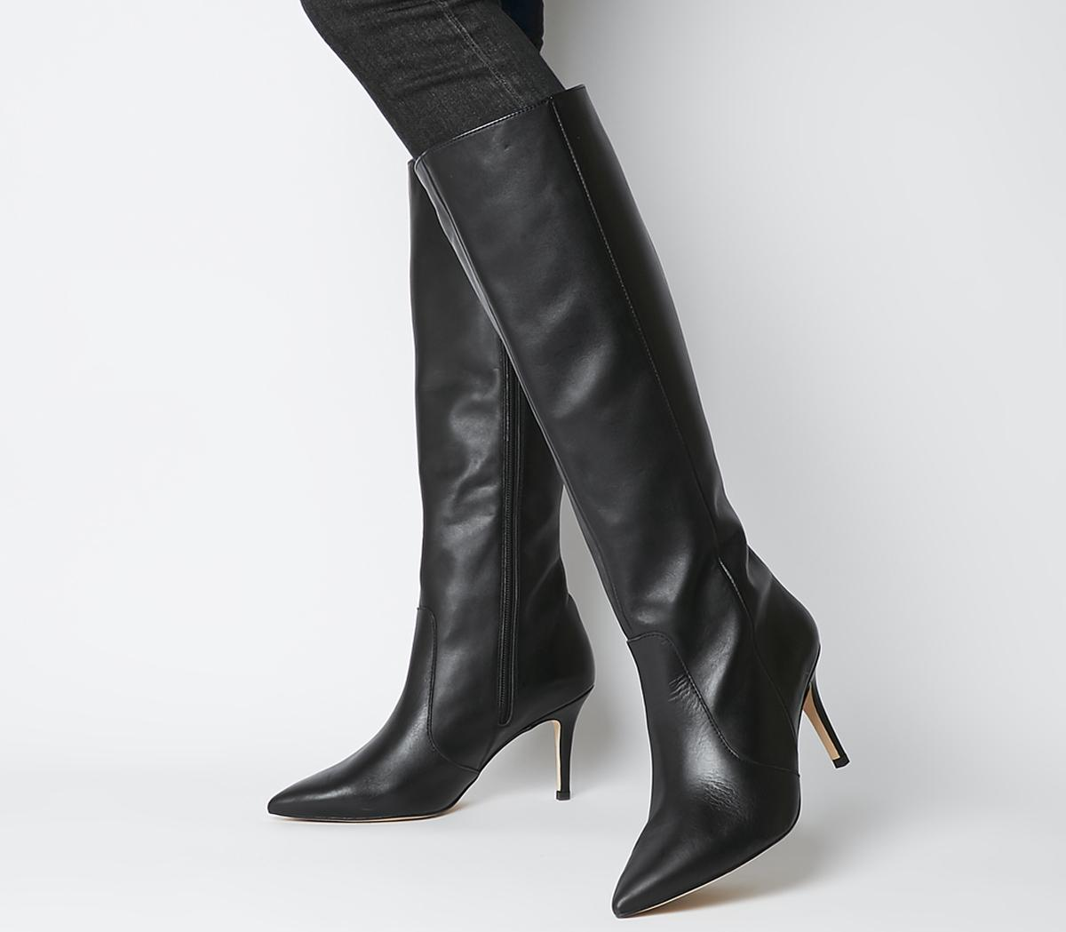 black leather knee boots uk