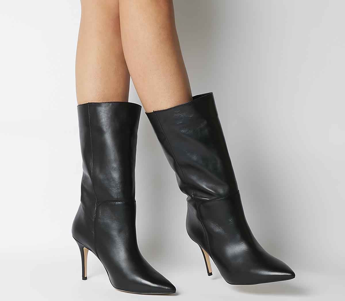 Office Koffee Pointed Calf Boots Black