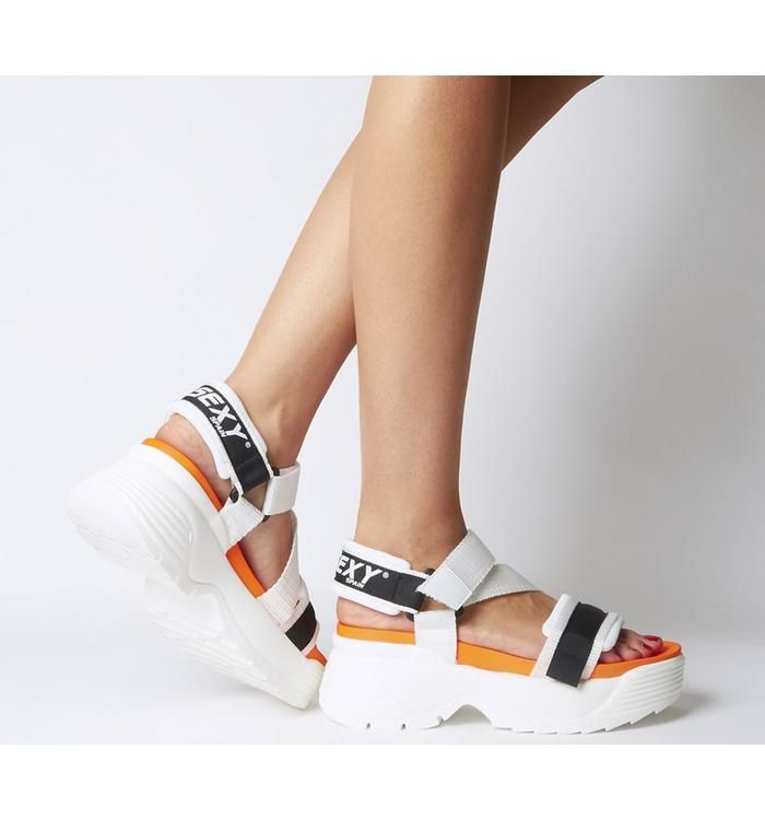Go Sexy Go Sexy Tube Sandal WHITE BLACK ORANGE