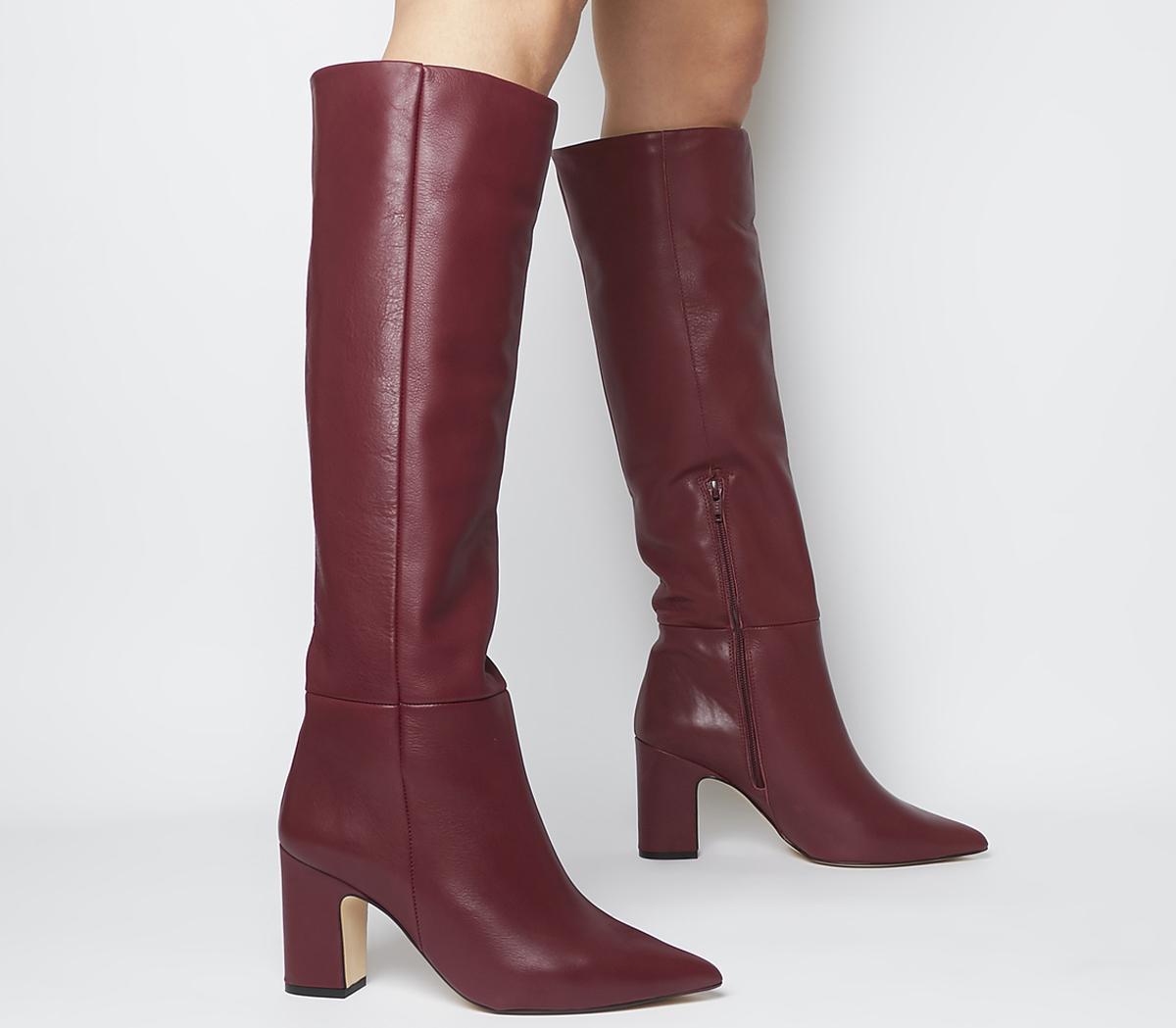 burgundy high heel boots cheap online