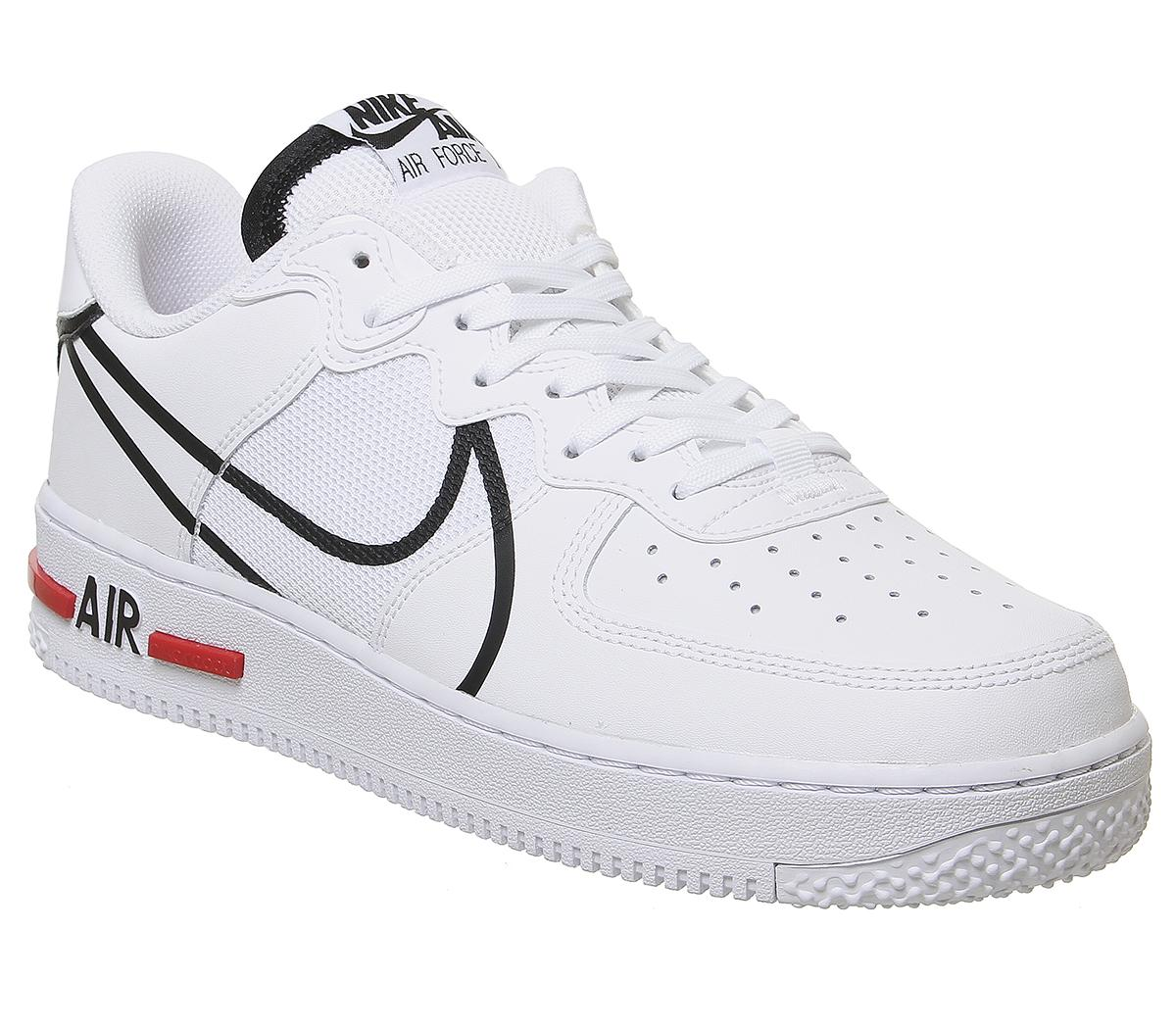 esposas Delgado cobre  Nike Air Force 1 React Trainers White Black University Red - Unisex Sports