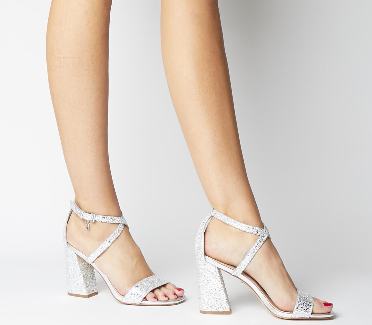 glitter chunky heel sandal