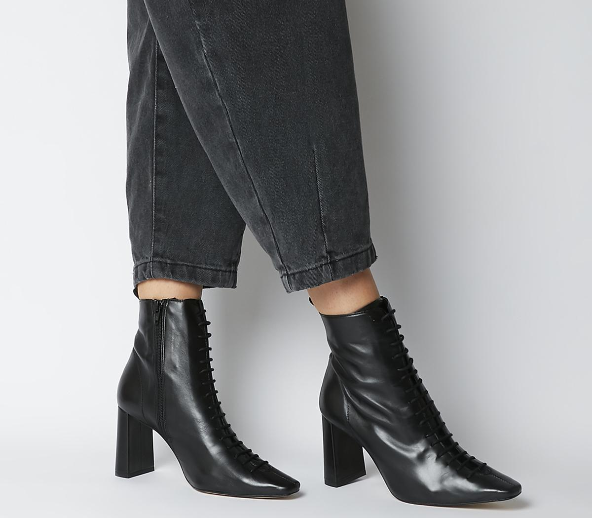 black boot heels lace up