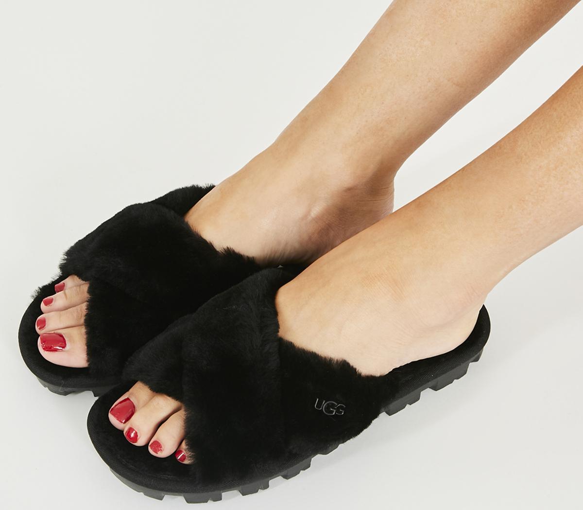 UGG Fuzzette Slippers Black - Flats