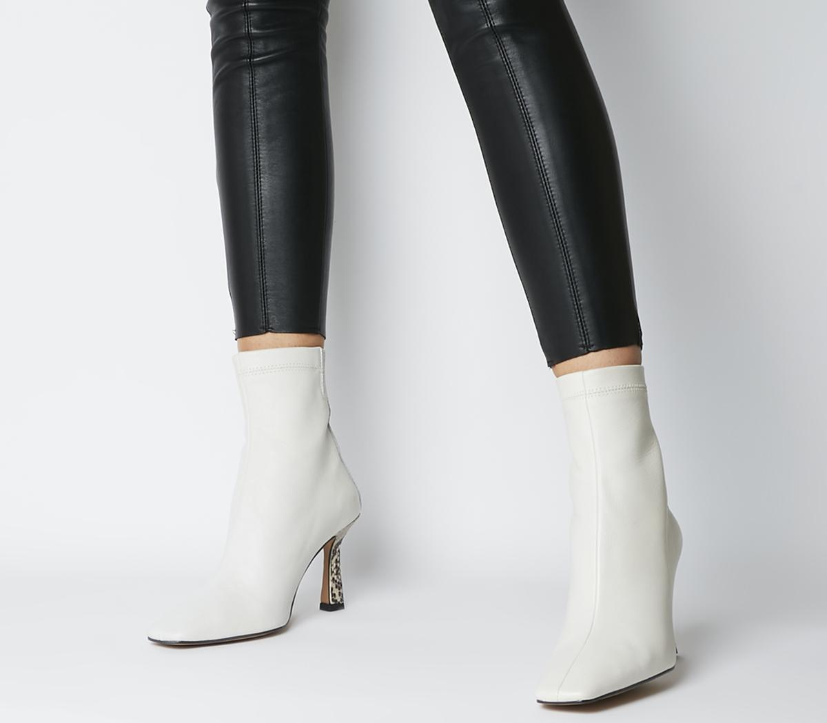 White Leather Feature Heel - Ankle Boots