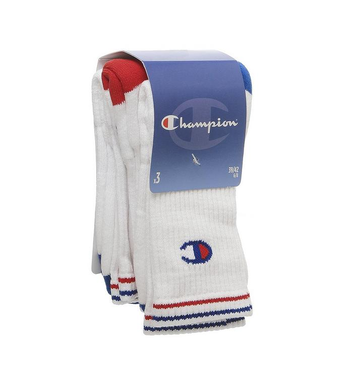 Champion Champion 3 Pack Performance Crew Sock WHITE BLUE RED