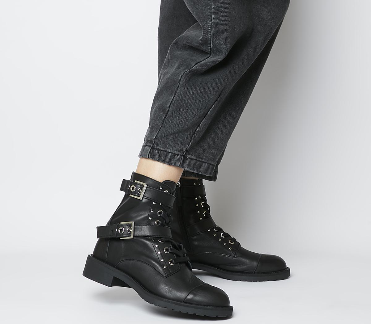 Office Accomplice- Lace Up Buckle Boot