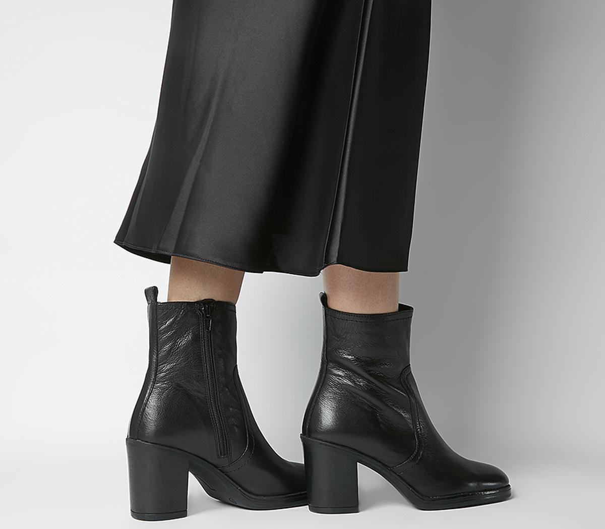 Office Away Casual Heeled Boots Black