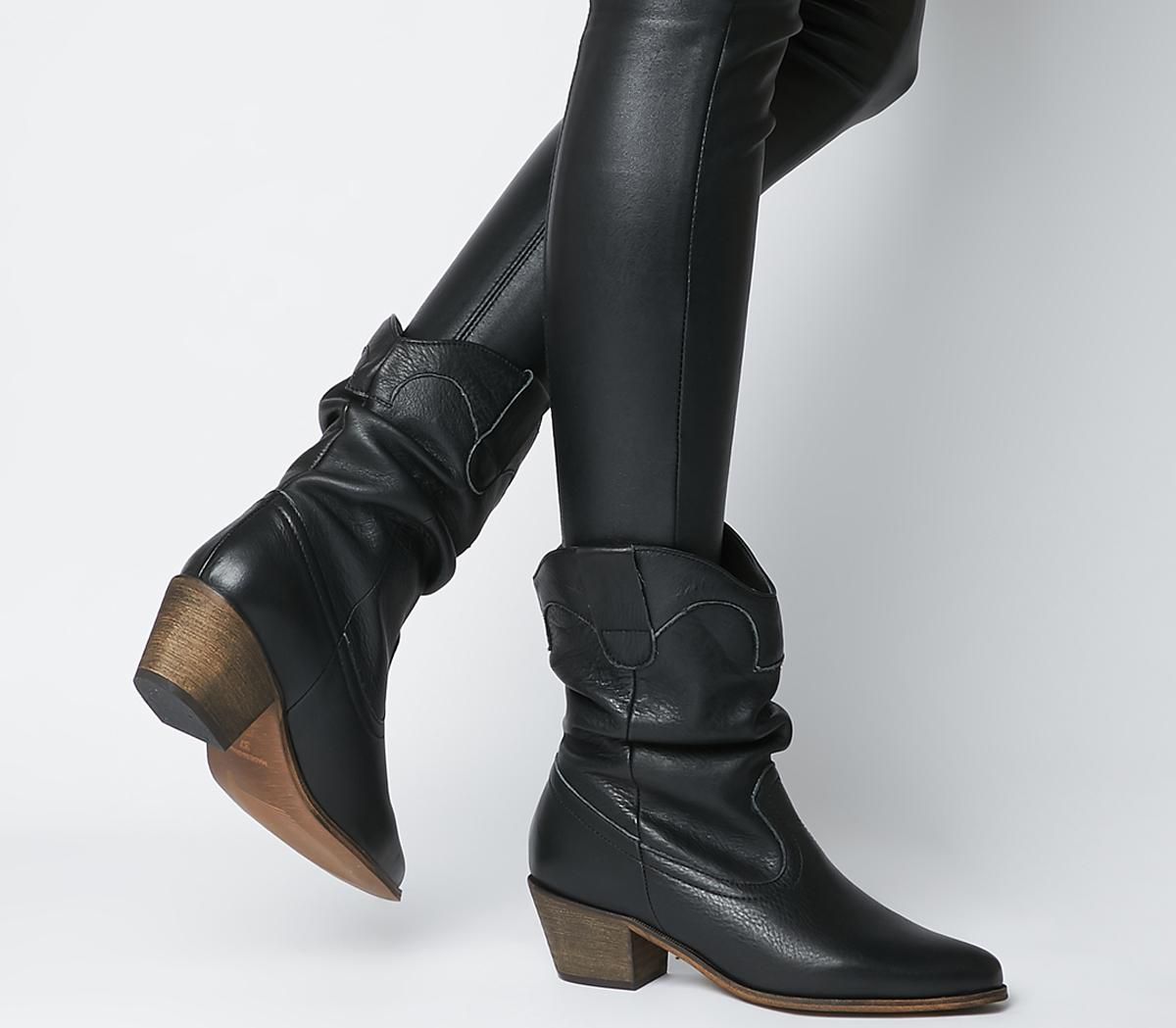 Across Ruched Western Boots