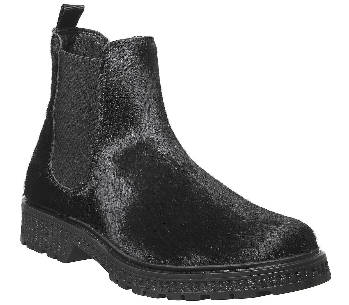 Boar Chelsea Boot Black Pony Hair - Boots