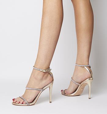 Details about NEXT Gold Silver Sparkle Wedding Platform Sandals High Heels UK Size 4
