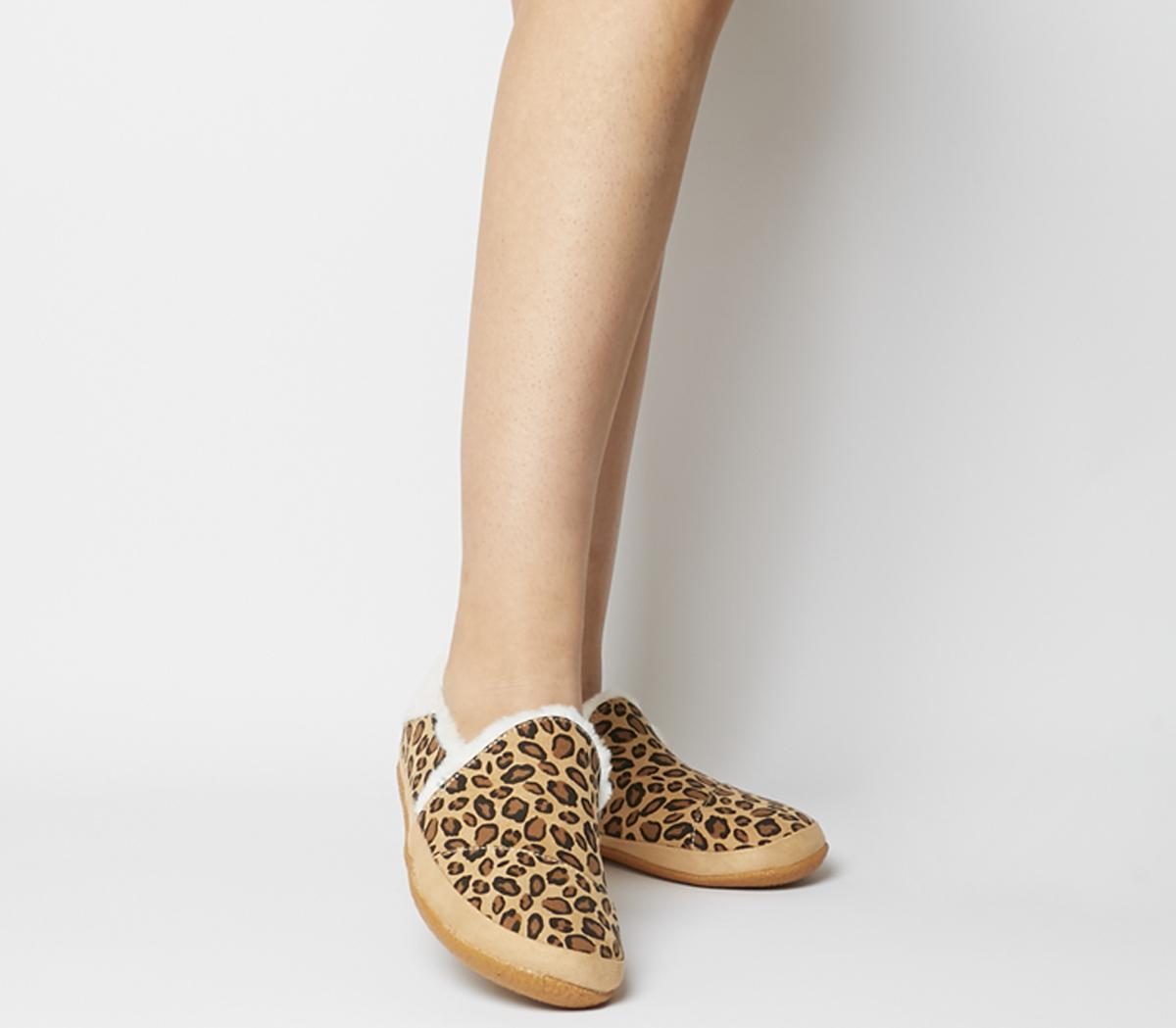 Toms India Slippers Desert Tan Leopard