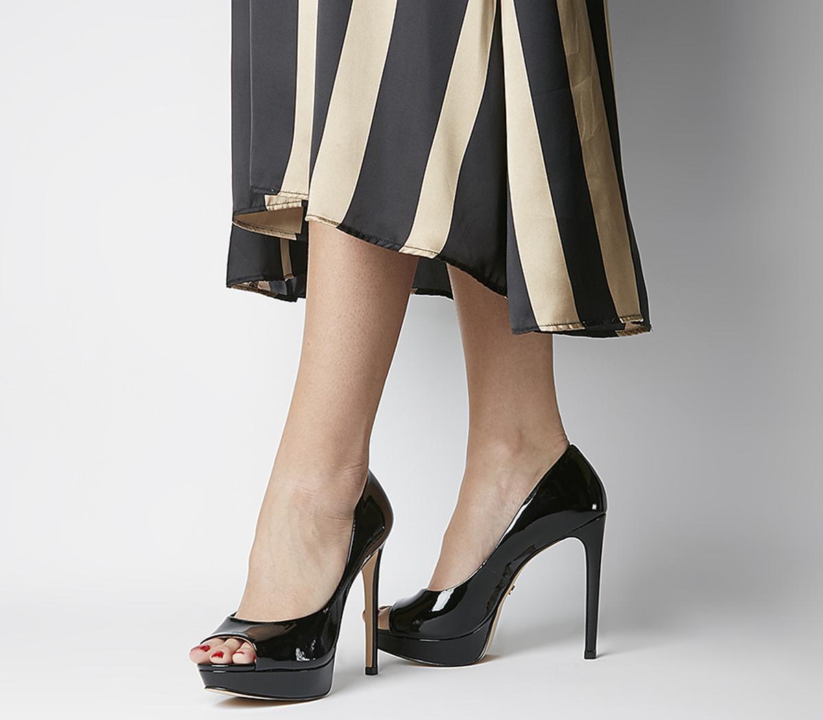 black patent high heels