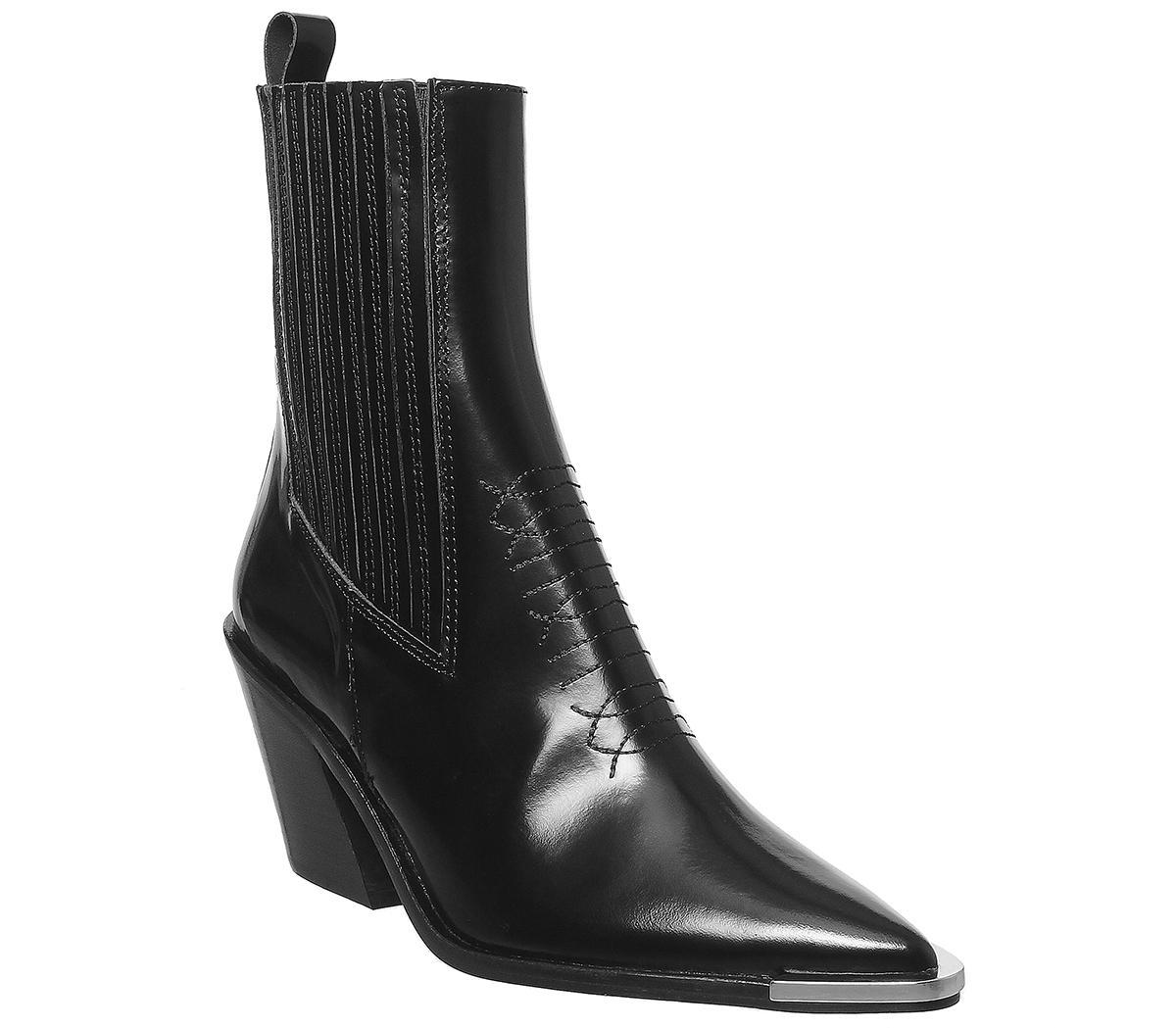 Office Arabella High Cut Western Boots Black Box Leather