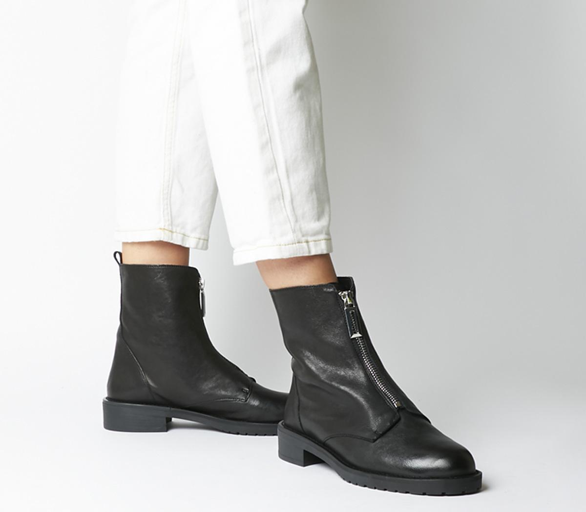 Office Atom Front Zip Boots Black