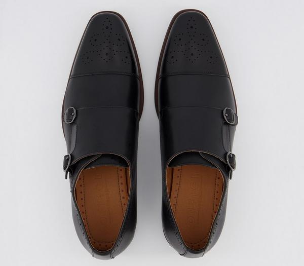 Office Marcus Monk Shoes Black Leather - His Exclusives 3glSwIB