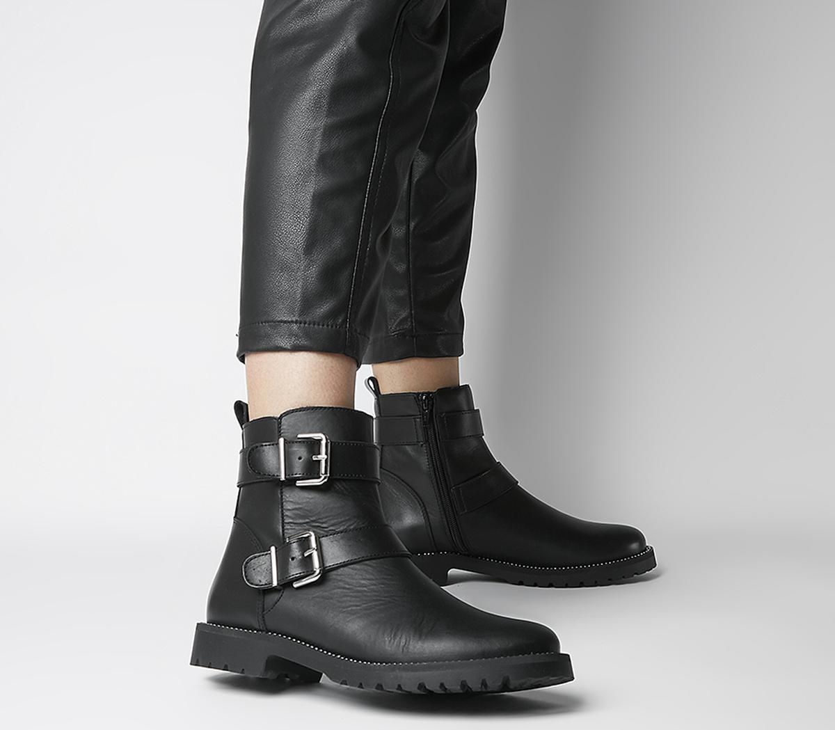 Office Alora Buckle Boots Black Leather