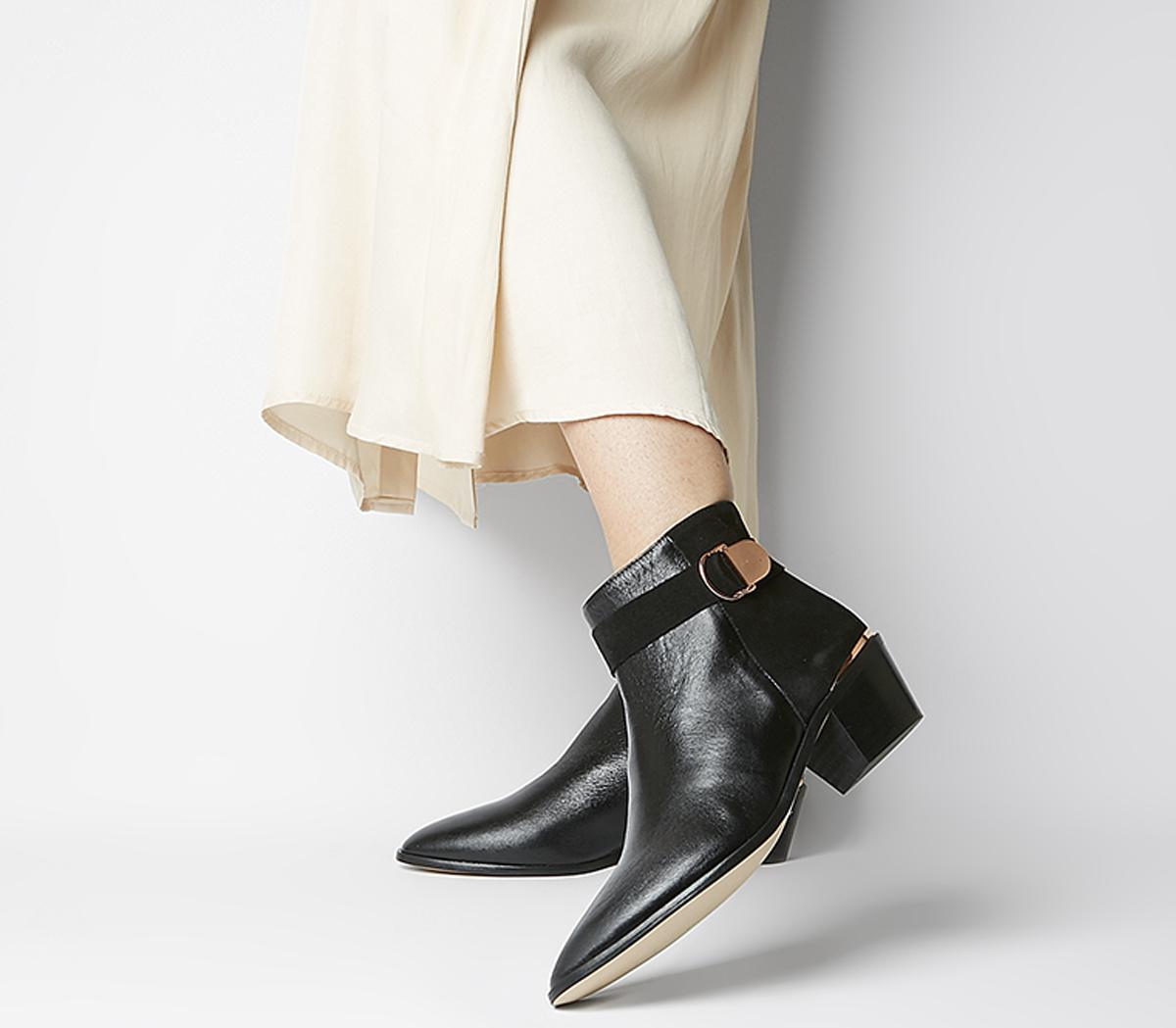 Office Aretha Buckle Boots Black