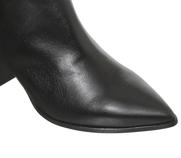 Office Kali Block Heel Knee Boots Black Leather - Knee High Boots j8ZAk4e