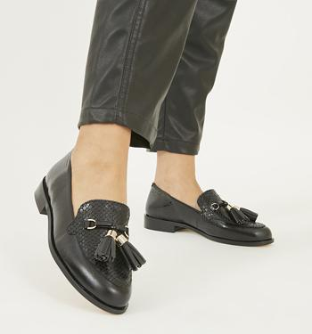 Womens Office Destiny Trim Loafers Black High Shine Leather Flats