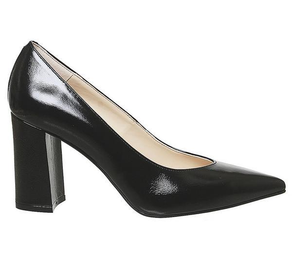 Office Monaco Block Pointed Court Shoes Black Groucho Leather - Mid Heels JP4uTzN