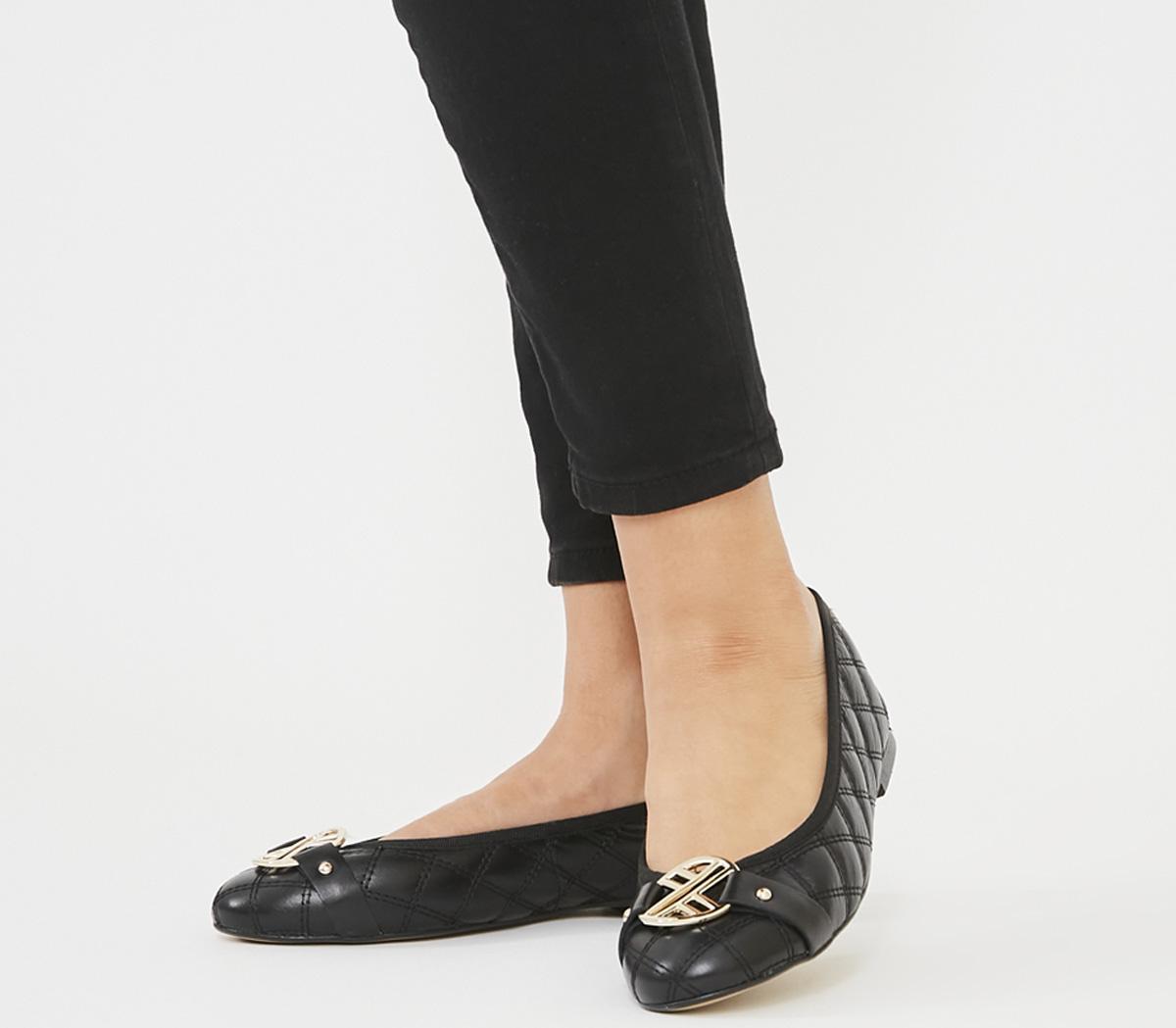 flat black womens work shoes