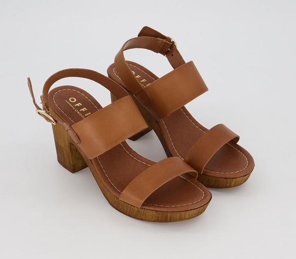 Office Mae Block Heel Sandals Tan Leather - Mid Heels dVrunEe