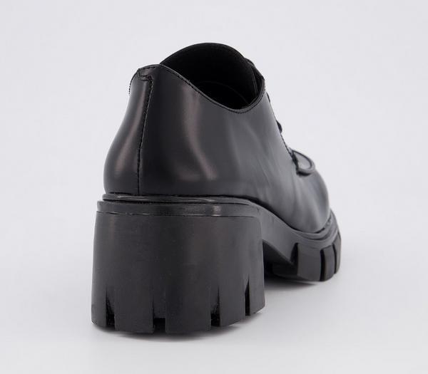 Office Matcha Chunky Sole Lace-up Black Leather - Mid Heels GOGBgFD