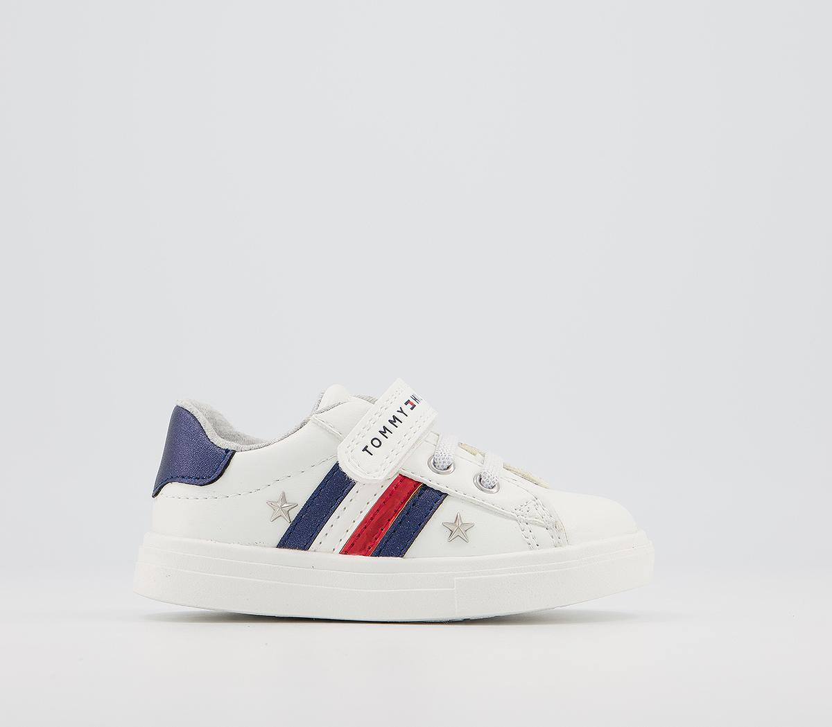 Trainers White Blue Red Metallic Star
