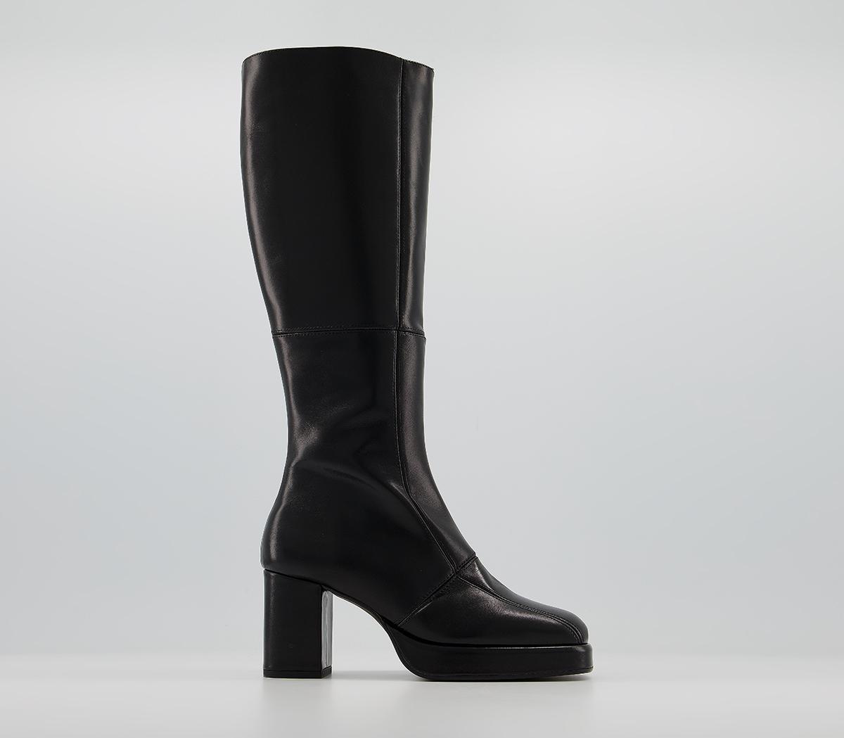 Office Kay Platform Knee Boots Black