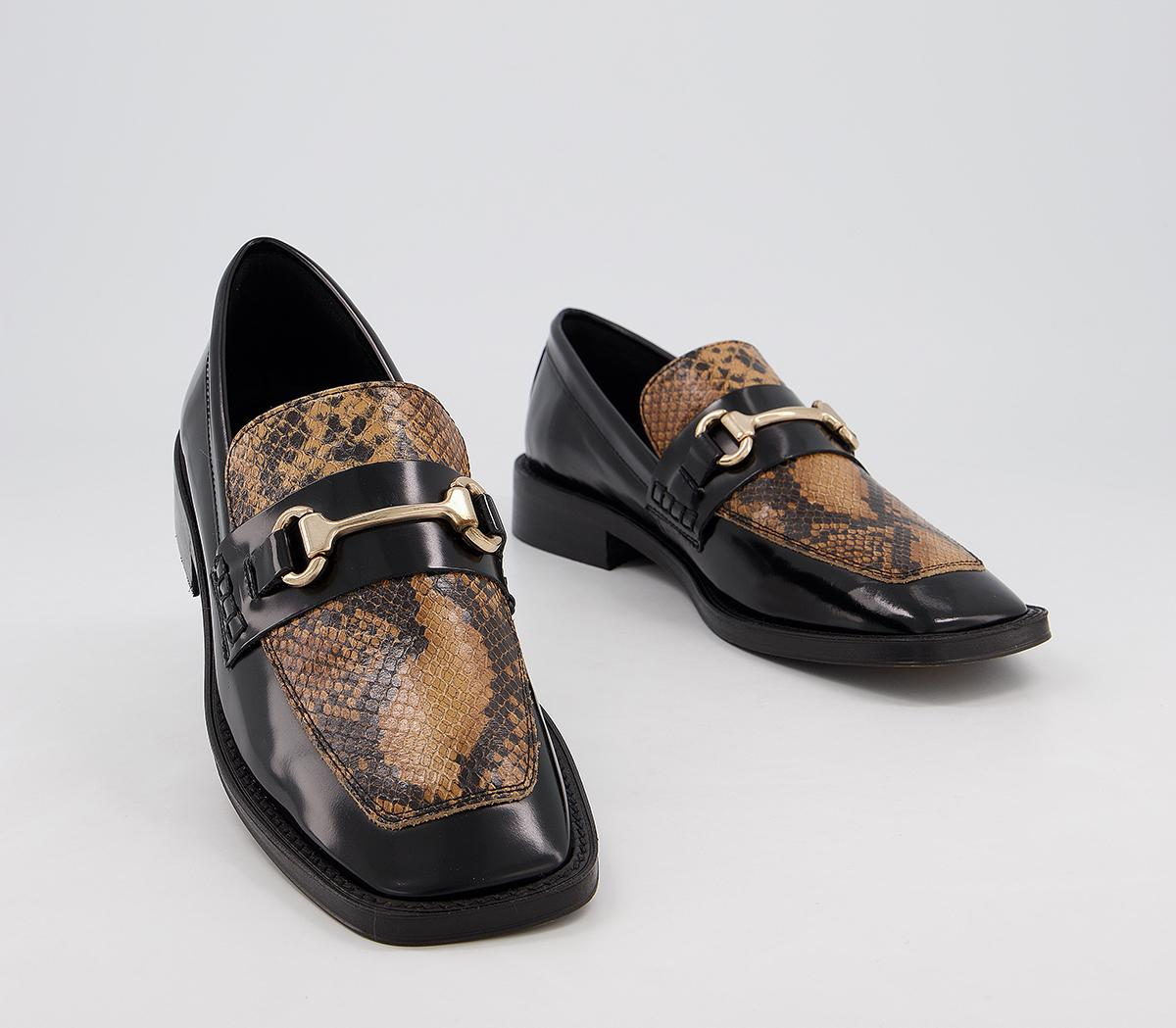 Freed Square Toe Loafers Black Leather Snake Mix