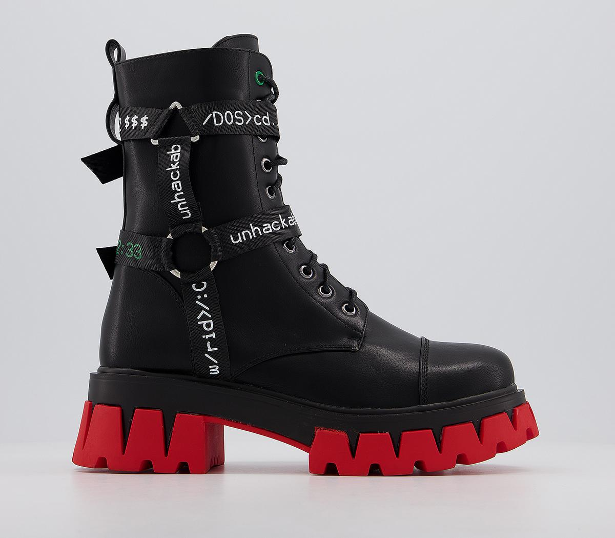 Koi Footwear Gorgon Chunky Boots Black Red Ankle Boots We're the trendmakers in fashion footwear bringing you you are our inspiration and we aim to create the footwear you want and love. gorgon chunky boots