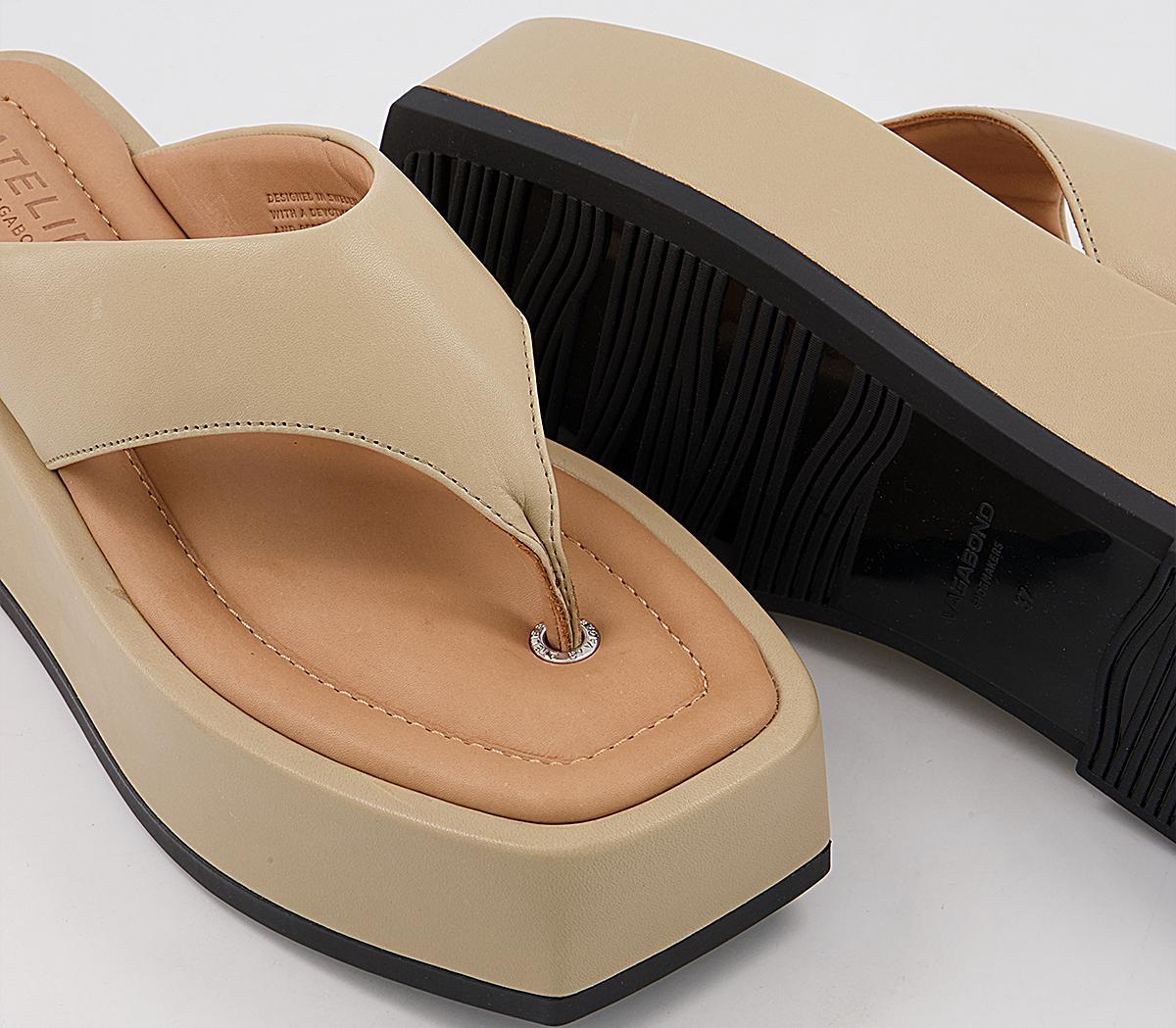 Vagabond Juno Toe Thong Platform Sandals Sesame