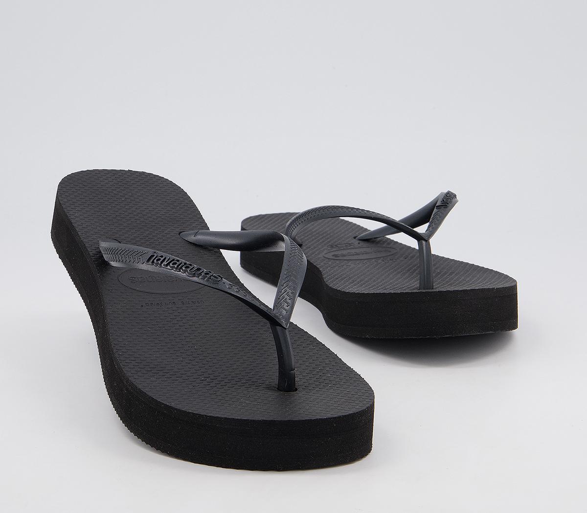 Slim Flatform Flip Flops Black Havaianas